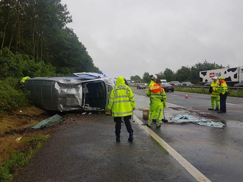 Warnings after vehicle flips over on M40 Warwickshire